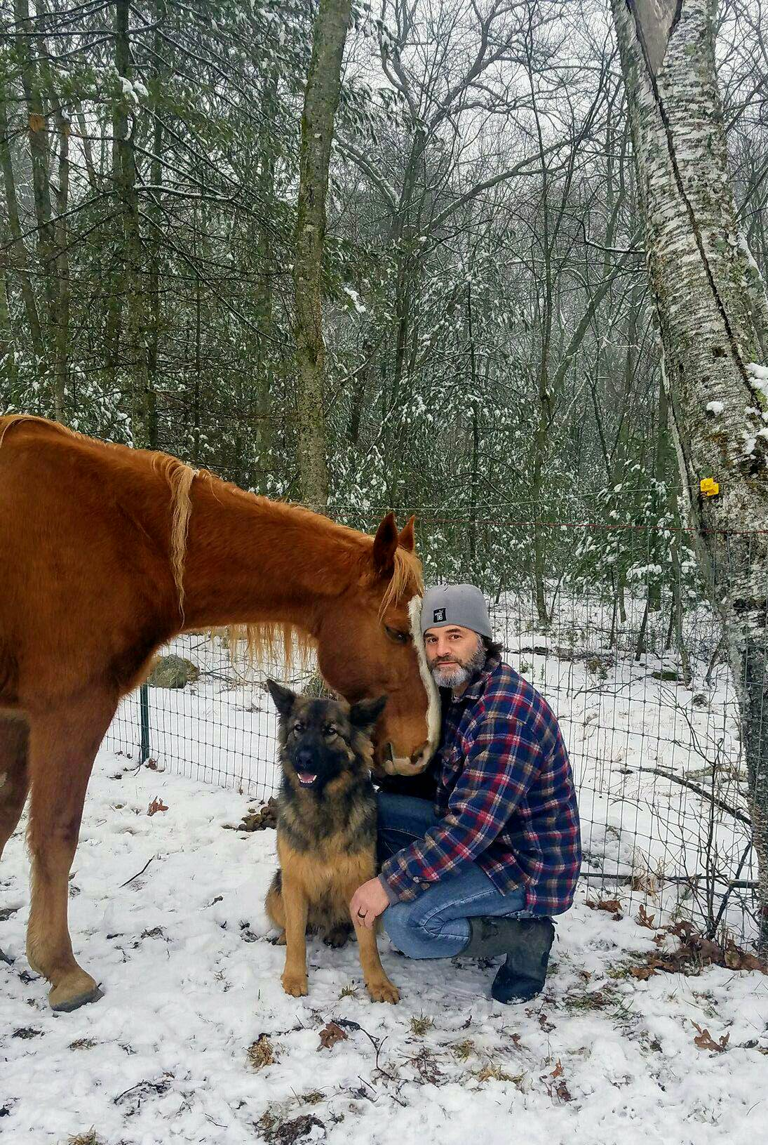 Mountain Man Vinny with his horse and dog